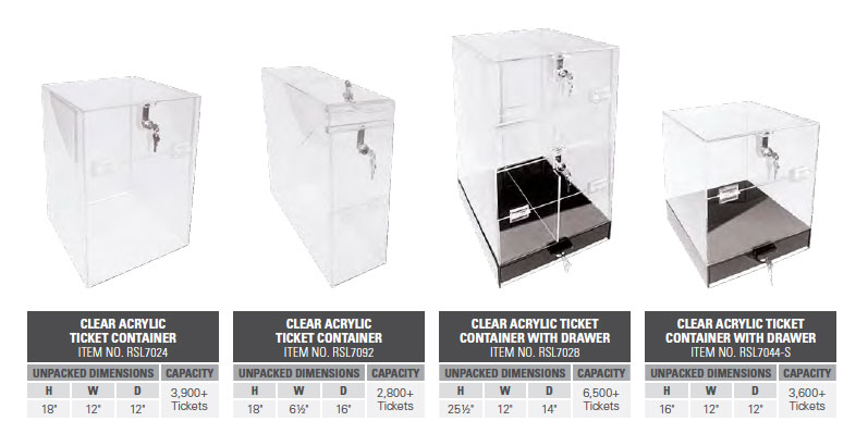 Clear Acrylic Ticket Containers with Key Lock Security